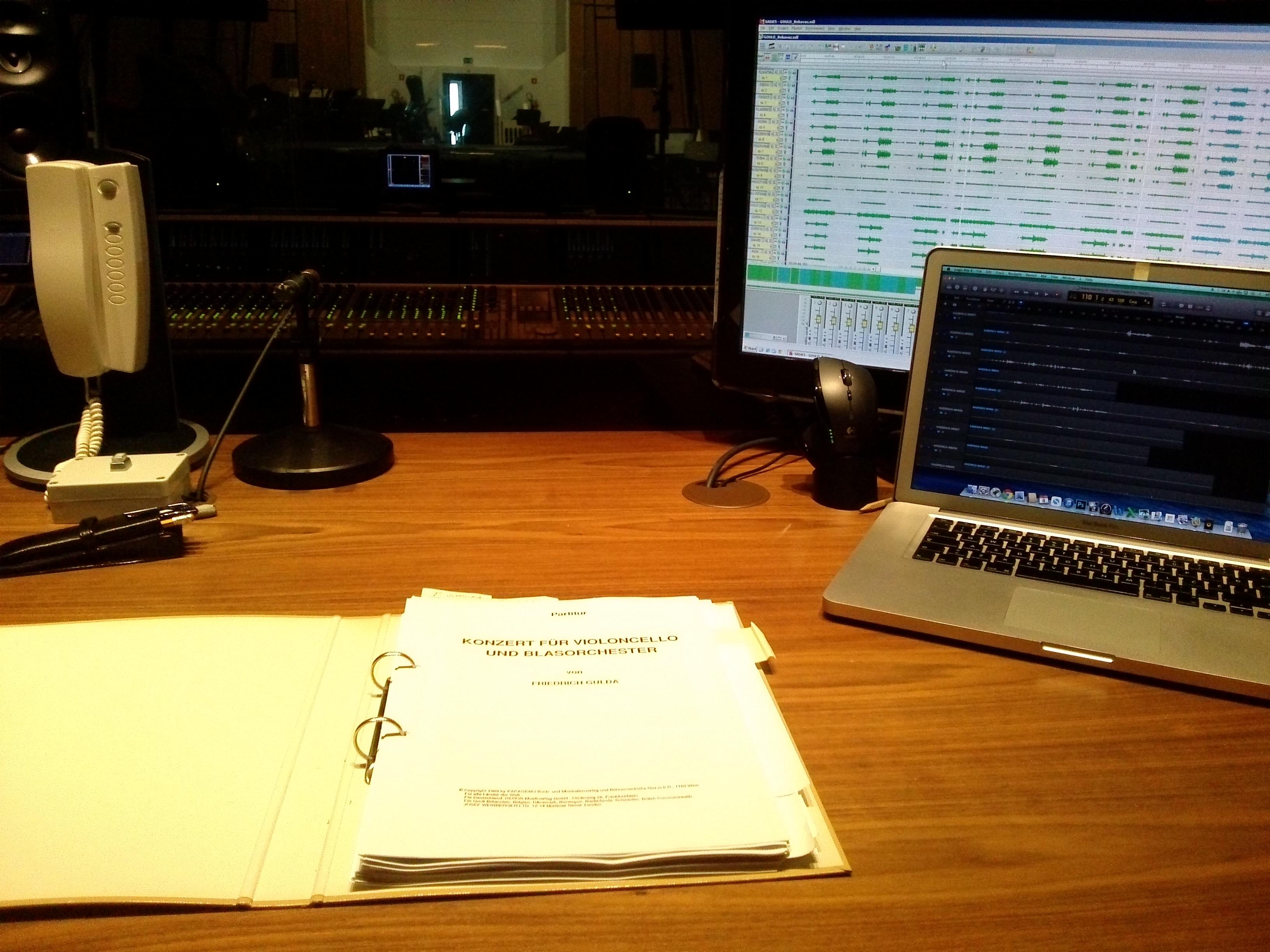 Snemanje F. Gulda – Koncert za violončelo in pihalni orkester